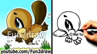 Fun2draw - How to Draw Cartoons - Chibi Platypus - Draw Animals