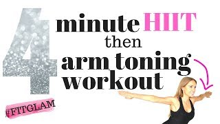 4 MINUTE HIIT HOME EXERCISE VIDEO WITH ARM EXERCISE FOR WOMEN TONING WORKOUT -