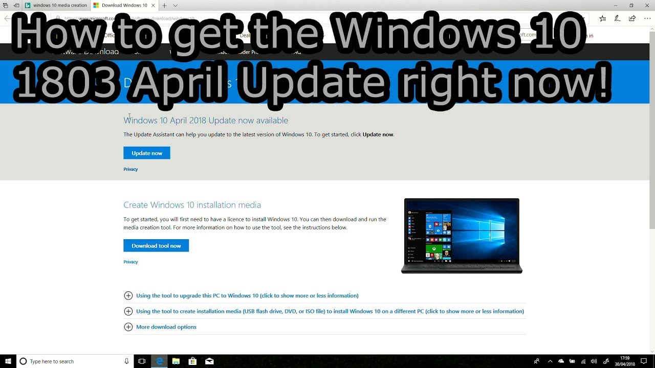 windows 10 april update iso