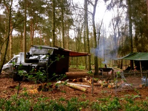 a night relaxing in the bug out vehicles uk base camp.