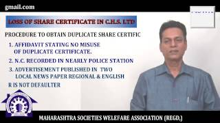 What If share certificate is lost by a member of a cooperative housing society?