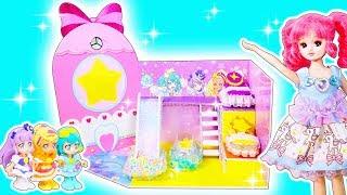 リカちゃん❤️スター☆トゥインクルプリキュアのキュアミルキー キュアセレーネ キュアソレイユのミニチュアハウスをDIY✨🍭おもちゃ 人形 アニメ