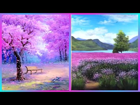 5 Easy Spring Landscape Drawing Ideas For Beginners Step By Step Acrylic Painting Ideas Painting With Oil Paints