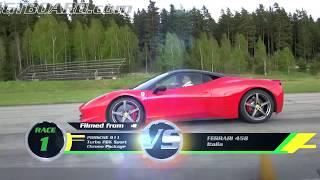 Ferrrari 458 Italia vs Porsche 911 Turbo PDK (997) both stock from Gustav