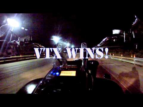 VTX1800 vs Yamaha R6 at the Strip with Times!!!