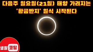 다음주 일요일(21일) 태양 가려지는 '황금반지' 일식…