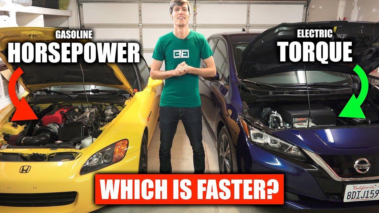 electric car motor horsepower 200 hp electric horsepower vs torque gasoline electric cars youtube