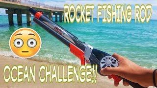 Rocket Fishing Rod Catches Fish In Ocean Challenge!?!