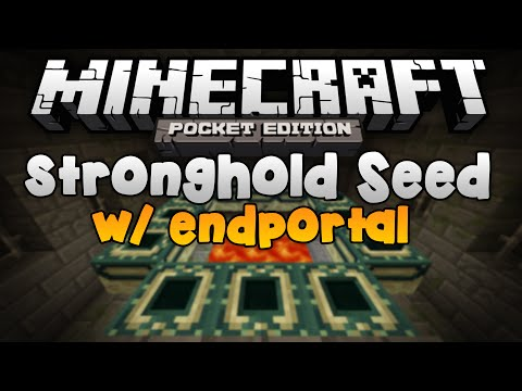 STRONGHOLD SEED w/ End Portal, Libraries, and a Village - Minecraft Pocket Edition