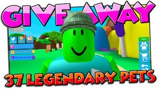Give Away! 37 Legendary Pets! | Bubble Gum Simulator