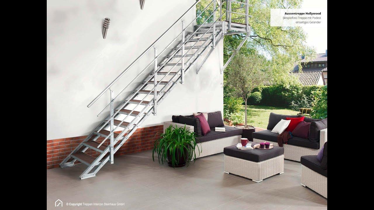Wpc Stufen montagevideo außentreppe mit podest geländer wpc stufen