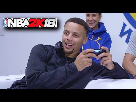 Stephen Curry Plays NBA 2K17 & Breaks...