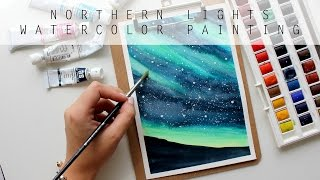 NORTHERN LIGHTS SKY | Lights Up Above | Watercolor Painting | Time Lapse | artbybee7 |