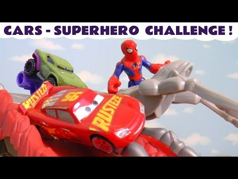 Cars Spiderman Hulk and Superman Hot Wheels McQueen Spider Challenge with the funny Funlings TT4U