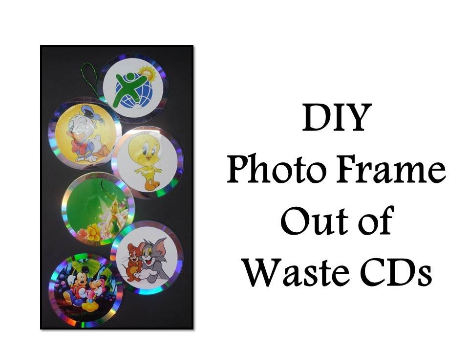 Diy how to make a photo frame out of waste cds youtube for Making hut with waste material