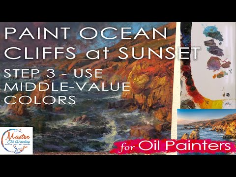 Oil Painting Tip - Step 3 - Using Middle-Value Colors - California Coast Sunset