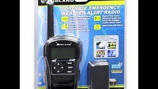 unboxing setup of a midland hh54vp handheld noaa weather radio
