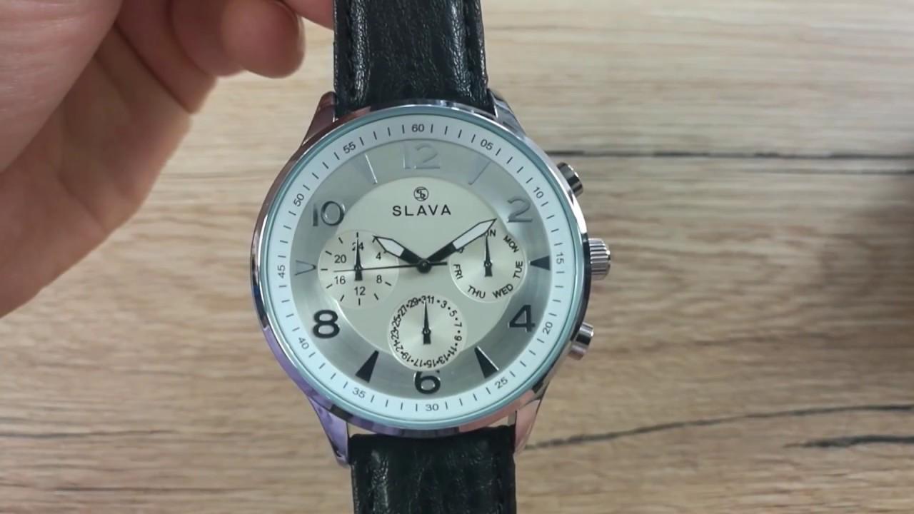 755cc2c427a Pánské elegantní hodinky SLAVA s velkým stříbrným ciferníkem SLAVA 10146