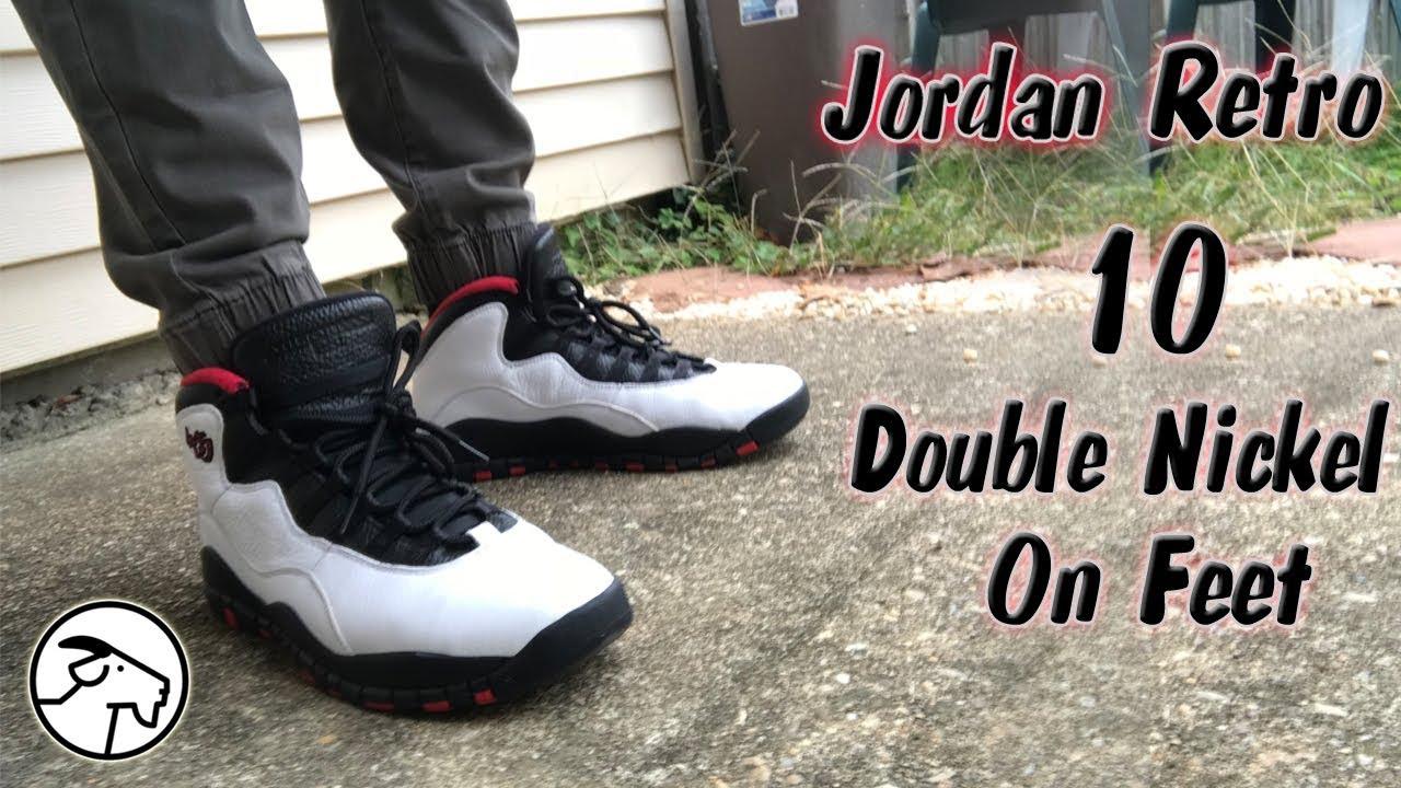 new style 00594 fe69f Jordan Retro 10 Double Nickel On Feet