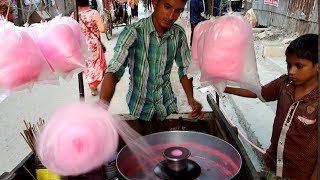 COTTON CANDY- How to making candy floss or Hawai mithai Traditional street food of Dhaka Bangladesh