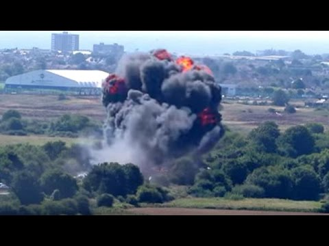 Moment fighter jet crashes into motorway during air show, UK
