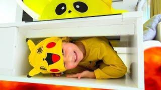 The Floor is Lava Challenge Milusik Lanusik and  Pikachu
