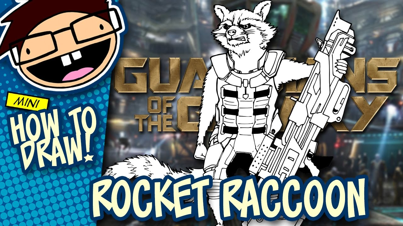 How To Draw Rocket Raccoon Guardians Of The Galaxy Narrated Easy