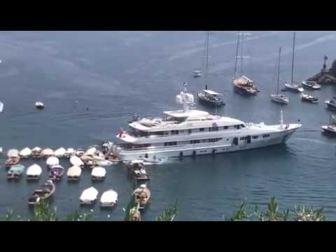 £15million British superyacht smashes into boats in Portofino harbour 'due to gear malfunction'