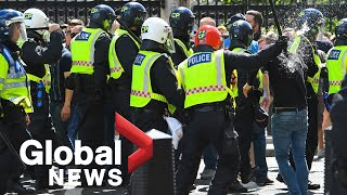 Far-right protesters clash with police in UK amid anti-racism demonstrations