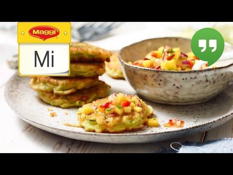 Zucchini Pancakes mit Mango Salsa - MAGGI Mittwoch Hangout