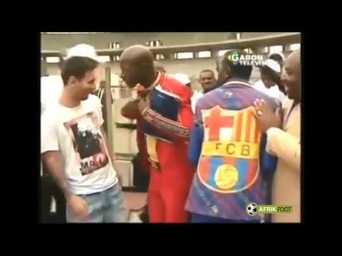 Lionel Messi en visite au Gabon aux côtés d
