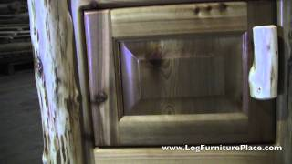Cottage Enclosed Log Nightstand From Jhe's | Log Night Stand From Fireside Lodge
