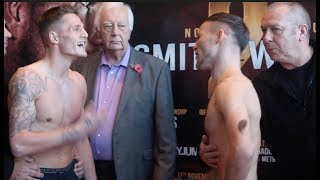 WORDS EXCHANGED! - JOSH LEATHER v GLENN FOOT - OFFICIAL WEIGH-IN VIDEO / LEATHER v FOOT