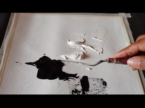 Abstract Painting Black White Easy Palette Knife Acrylics Demonstration