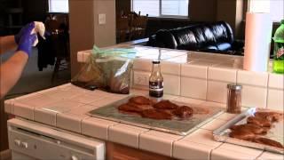 Preparing Marinated Chicken Breast To Smoke On My Pitmaker Bbq Safe (03-24-13)