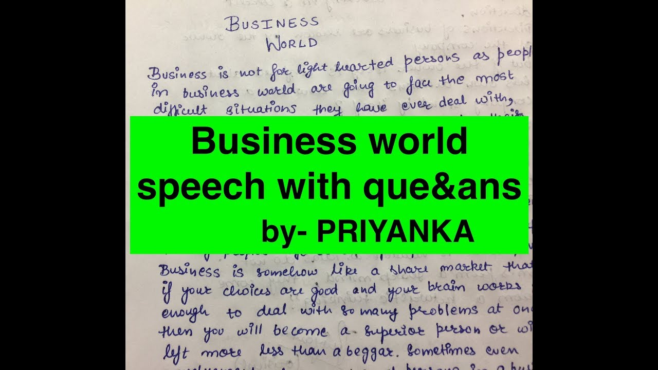 business world speech