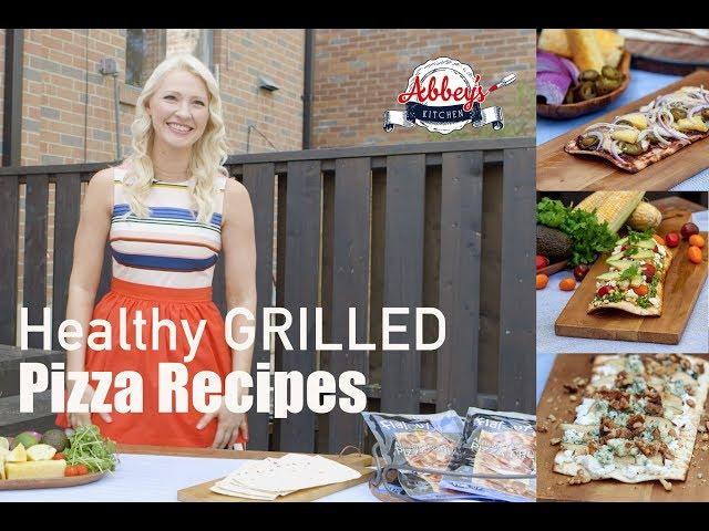 Three Healthy GRILLED PIZZA RECIPES | BBQ Chicken, Pear & Walnut Blue Cheese, Cilantro Pesto Pizza
