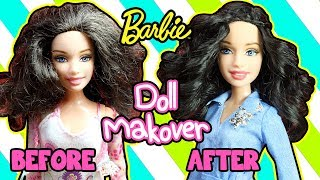 DIY Barbie Makeover - How to Curl Doll Hair - Doll Hairstyles - Making Kids Toys
