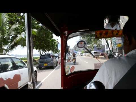 Tuk-tuk ride in city of Galle, Southern Province, Sri Lanka, december 2014.