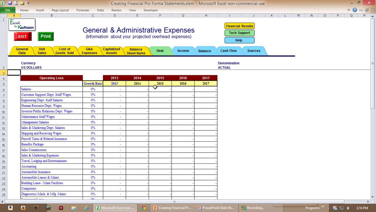 Excel Custom Application Creating Financial Pro Formas
