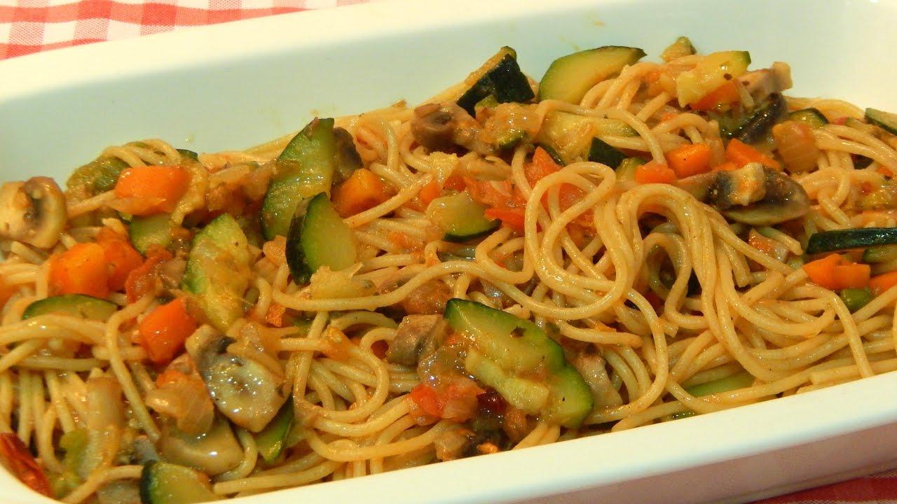 Receta Fácil Y Sana De Espaguetis Integrales Con Verduras Youtube