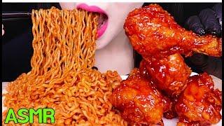 ASMR SAMYANG SPICY NOODLES, FRIED CHICKEN 시크릿 양념 닭다리 치킨, 삼양 튀김쫄면 먹방 (EATING SOUNDS)