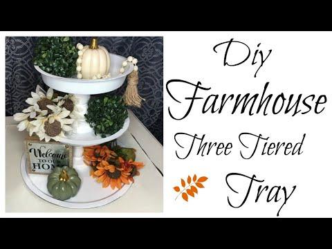 DOLLAR TREE FARMHOUSE THREE TIERED TRAY FALL DECOR DIY