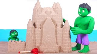 FUNNY KIDS CASTLE ON THE BEACH ❤ Play Doh Cartoons For Kids