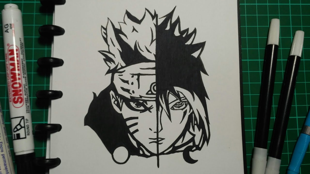 Menggambar naruto dan sasuke speed drawing black and white