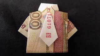 рубашка из купюры с галстуком оригами из денег