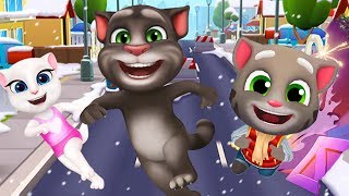 Talking Tom Gold Run - My Talking Tom vs My Talking Angela Gameplay
