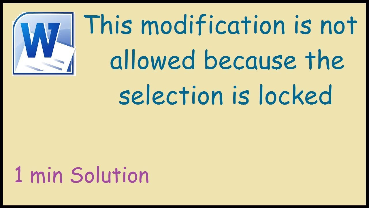 modification is not allowed because the selection is locked 2007