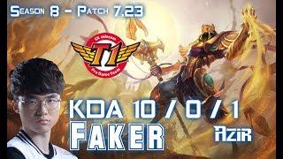 SKT T1 Faker AZIR vs TALON Mid - Patch 7.23 KR Ranked