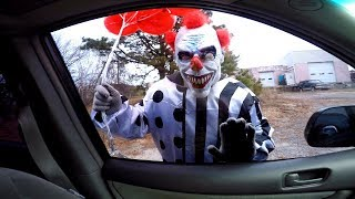 The Scary Clown Is Back - Clown Chases Car!